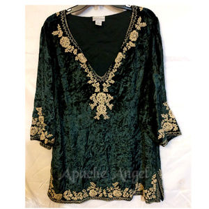 Crushed Forest Green Velvet Tunic Size 16/18